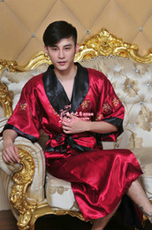 Wholesale Silk double sided embroidered dragon robe Chinese tang suit men s ladies pajamas lace up gown bathrobe