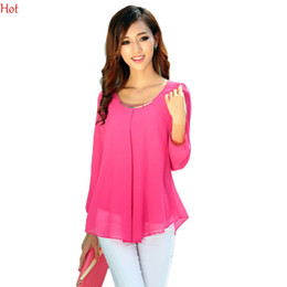 Wholesale 2015 Blouses Golden Articlesequins O Neck Elastic Cuff Shirt Summer Spring Chiffon Blouse Tops M XXL Colors Rose Yellow Blouses Hot SV007460