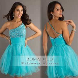 Wholesale Sexy A Line Chiffon Sweetheart Homecoming Dresses With Beaded Crystals Zipper Back Ruched Pageant Prom Gown Mini Cocktail Dress PG0017