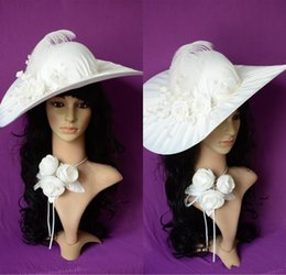 Wholesale 2015 Simple Bridal Hat Dress Hand Made Flowers Feather Beige Vintage Hats For Party Prom Wedding Hat Kentucky Derby Hats Real Image