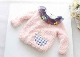Mesh Tulle Colours Balls Plus Velvet Children Girls Long Sleeve T-shirt Cartoon Patch Thicken Kids Winter Clothing Fur Tops White/Pink L1040