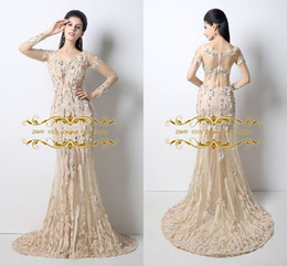Wholesale New Arrival Amazing Evening Dresses ZAHY Original Real Picture Crystal Beading Sequins Scoop Long Sleeve Sheath Prom Dress LAN031
