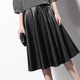 Long Pleated Leather Skirt Online | Long Faux Leather Pleated ...
