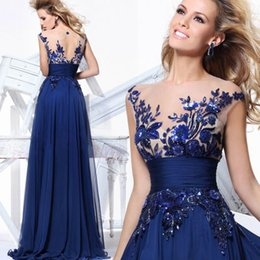 Wholesale Cheap in stock royal blue bateau a line evening dresses embroidery lace appliques sheer cap sleeves prom gowns backless long gown cps011