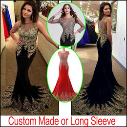 Wholesale 2015 Sheer Neck Black Red Formal Evening Prom Dresses Beads Real Image Embroidery Long Sleeve Occasion Wedding Party Gowns Arabic Plus Size