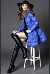 Wholesale New Arrival Hot Women s Down Coat Blue Or Black Printed Outerwear New Winter Warm Clothing Long Down Parkas