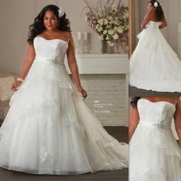 Wholesale Повседневный Плюс Размер Свадебные платья без бретелек Африканский Белый Organza Appliques шнурка бинты A линия Maxi Церковные Свадебные платья года