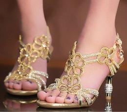 Wholesale Popular Gold Blue Sandal Floral Crystal Rhinestones cm High Heels Prom Evening Party Dress Women Lady Bridal Wedding Shoes