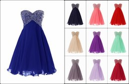 Wholesale Short Mini Prom Party Dresses Swetheart Beads In Stock Formal Cocktail Homecoimg Gowns Off the Rack Dresses for Women S02