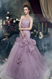 Wholesale 2015 Quinceanera Dresses Light purple Tulle Dreamy Long Prom Debutante Dresses Strapless Crystals Beaded Flowers