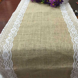 factory direct jute linen table runner lace sides chair brulee ribbon yarn craft christmas party wedding decoration - Discount Table Linens