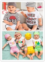 Wholesale Baby clothing casual cute letter baby boy clothes short sleeve character baby sets toddler boys clothing New baby clothing