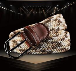50PCS HHA610 nuevos 80 colores para mujer para hombre de la lona del llano correas hebilla de metal tejido Stretch cintura cinturón trenzado lienzo Cinturones