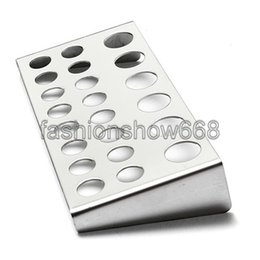 Wholesale 22 Holes Tattoo Pigment Ink Cap Cup Holder Stainless Steel Shelf Stand Tip Supply Tools Body Beauty
