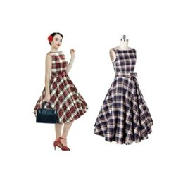 2016 Heißer Audrey Hepburn 1950 Rockabilly beiläufige Kleider Ballkleid-Weinlese-Plaid-Art-dünne Knie-Länge-Frauen-Kleider OXL15092110