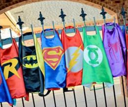 Wholesale New Arrive Superhero Kids Capes Superman Batman Spider man Flash Super girls Kids Cartoon Capes Halloween Children Capes