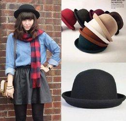 Wholesale 2015 Korean Women Cashmere Cloches Caps Summer Visor Lady Bowler Casual Travel Hats Colors Choose DDP