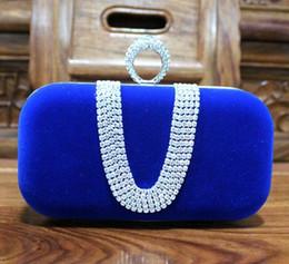 Top vendendo moda feminina diamante de U Forma Diamond Ring Velvet Evening Bag Dedo Luxo Clutch festa de casamento Bolsa Bag com corrente