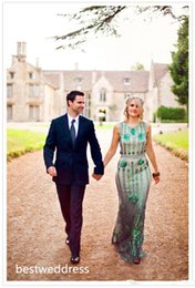 Wholesale 2015 High Quality Custom Made Emerald Green Jenny Packham Dress Luxury Crystal Sequins Vintage Wedding Gowns Crew A line Wedding Dresses