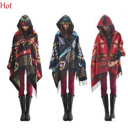 Wholesale Women Bohemian Hooded Coat Wool Cape Irregular Geometric Pattern Spring Autumn Poncho Shawl Tassels Fringe Hoodie Jacket Colorful SV011498