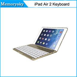 Novas chegadas teclado ultra fino Shell Alumínio Folio sem fio Bluetooth Carrying Stand Case Capa para Apple iPad Air 2 010243