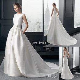 Wholesale Designer A line White Satin Hollow Back Wedding Dresses Removeable Skirt With Pocket Bateau Neckline Sleeveless Bridal Wedding Dresses
