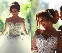 Wholesale Vestidos De Noiva Casamento Sheer Long Sleeve Princess Ball Gown Wedding Dresses Tulle Crystal Pearls Winter Plus Size Bridal Gowns