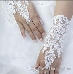 Wholesale 2015 Cheap Fingerless In stock Wedding Accessories For wedding evening Party gloves Short Wrist Length Lace Pearl Beads Bridal Glove CPA227