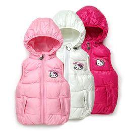 Wholesale 2014 hellokitty baby girls cotton vest with cap kids Vests Waistcoats children cotton cap outwear