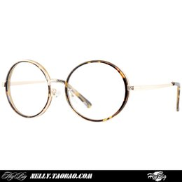Wholesale Korean version of the retro glasses frame plain mirror male and female models round metal glasses tide round personality Leopard