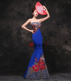 Wholesale The new bra long blue tail red embroidery night Prom Dresses Bridesmaid beauty from a batch of large code support on behalf of pregnant wome