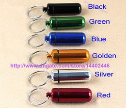 Wholesale 200pcs Travel aluminum alloy Waterproof Pill Box Case keyring Key Chain Medicine Storage Organizer Bottle Holder Container KeyChain x46mm