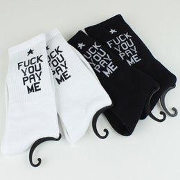 Wholesale 30PAIR LJJH733 Unisex FUCK YOU PAY ME Cotton Socks Skateboarding Socks Men s Stockings Sport Socks Hip hop Socks Unisex Hosiery