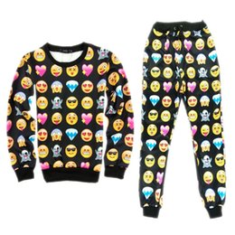 online shopping 2015 Spring D sweatshirt casual suit black white emoji joggers unisex emoji outfit pullovers Hoodies and sweatpants tracksuits