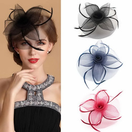 Wholesale Elegant Church Kentucky Derby Feather Fascinator Hat Wedding Hair Decoration Accessories