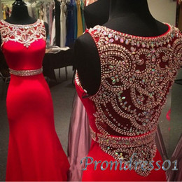 Wholesale New Design Red Chiffon Modest Prom Dresses Scoop Neck Floor Length Beading Long Evening Dresses for Teens Sexy Party Dresses