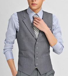 Wholesale HOT Formal Grey Wool Men s Waistcoat New Arrival Fashion Groom Vests Casual Slim Vest Custom Made NO