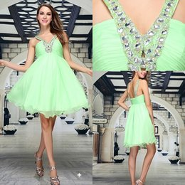 Wholesale Flowing Beautiful V Neck Crystal Beads Pleats A line Mint Girl Lady Mini Cocktail Homecoming Prom Dresses Short Party Dresses