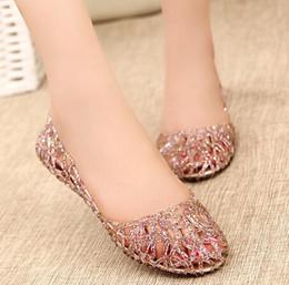 ENVÍO LIBRE Las sandalias cristalinas de la nueva de 2015 del verano de las mujeres de las sandalias de las sandalias cristalinas cristalinas de la jalea de los zapatos respirables sandalias planas femeninas