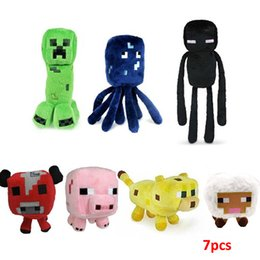 Wholesale 7pcs Minecraft JJ styles Squid Creeper Enderman pink pig cow Ocelot Cute plush toy stuffed doll cm