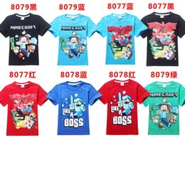 Wholesale 100 cotton AAA quality color size kid girls boy mine craft summer short sleeve t shirt top christmas birthday gift top