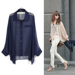 Wholesale 2015 New Women s Large Size Bat Sleeve Loose Girl Transparent Chiffon Blouse Shirt Sun Protection Clothing Air conditioned Shirt Perspective