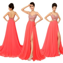 Wholesale Cheap In Stock Hollow Waist Prom Dresses with Spaghetti Strap Side Slit Backless Crystal Chiffon Bridal Party Evening Gowns XU015 Coral