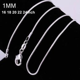 100pcs 925 en argent doux serpent chaînes Collier 1MM serpent chaîne mixte taille 16 18 20 22 24 pouces vente chaude