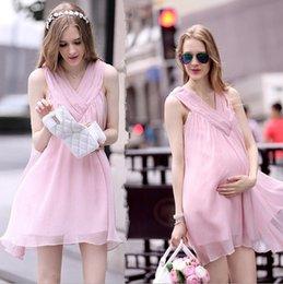 Wholesale 2015 Maternity Fashional Chiffon No Sleeves Mini Dresses Solid Color Pink M L XL