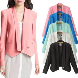 Wholesale 2014 New Arrival Women Blazers And Jackets Casual Slim Candy colors Notched Collar Long Sleeve Blazer Blaser Feminino WWX219