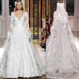 Wholesale Zuhair Murad Wedding Dresses V neck Long Sleeves Bridal Gowns A line White Tulle Applique Lace Vintage Couture Dress For Brides Grecian