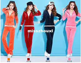 Wholesale Hot Selling Best Quality Brand Casual Women s Velvet Wool fleece Tracksuits Velour Tracksuit Girls Hoodies Coats Clothing Pants