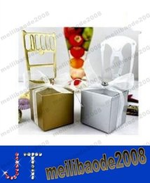 Wholesale colors white Silver Gold chair with ribbon and pendant candy box wedding favor and gifts MYY12519A