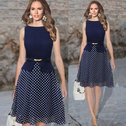 Wholesale 2016 Summer dress Women Clothes Retro Style Navy Women Dress Sleeveless O Neck Polka Dot Tunic Knee Length Women Dress with Belt XXL G0927